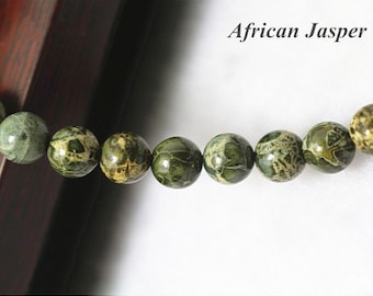 6mm African Jasper Beads,Natural and Smooth Round Beads,15 inch strands
