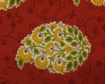 P/Kaufmann-Coral and Gold Paisley Drapery Fabric