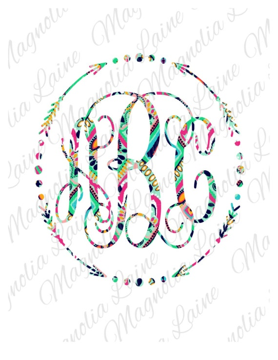 Lilly pulitzer arrow monogram decal lilly pulitzer monogram decal