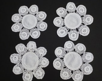 4 X Small White Cotton Drinks Coasters with Crochet Lace Borders