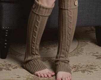 Mocha - Leg Warmers with Button