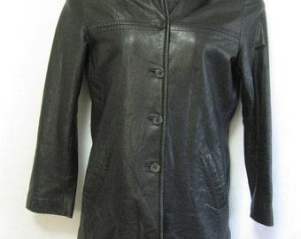 Vintage Misses M Black Leather JACKET - 80's Black Leather Jacket, Misses Sz M Black Leather Jacket - Soft Black Leather Coat