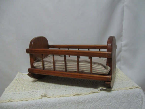 Vintage Wooden Doll Cradle For Your Antique Baby Dolls Doll