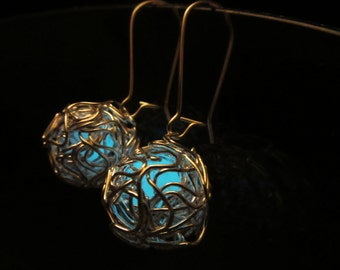 Silver earrings Glow in the dark