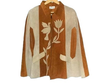 Vintage Leather Poncho Suede Made in Mexico 70s Zips up and Pockets Humming Bird and Flower Color Orange Tan and Beige Boho Hippie Bohemian