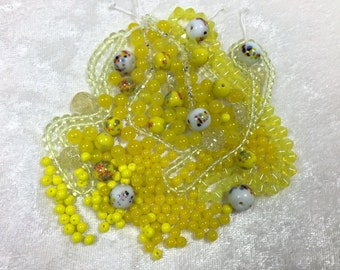 Bright Sunny Yellow Bead Mix with Vintage Beads