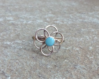 Vintage Mexico Turquoise Flower- Sterling Silver