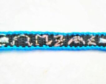 Crocheted customizable Black Dagger Brotherhood inspired old language dagger bracelet