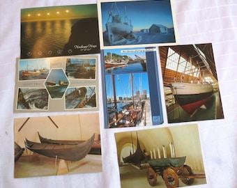 80s unused postcards from Norway, paper ephemera, bundle of 7, vintage postcards, 649/1215