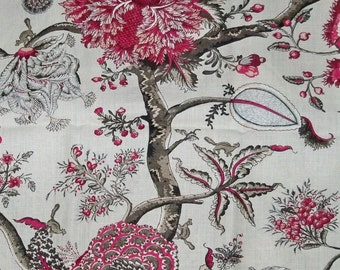 SCALAMANDRE  PONDICHERRY JACOBEAN Hand Printed Linen Fabric 10 Yards Raspberry Multi