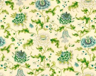 BRUNSCHWIG & FILS Shabby Cabbage Roses Linen Fabric 5 Yards Aqua Green Multi