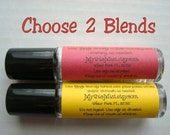 Set of 2 Essential Oil Roller Bottle Blends, Muscle, Breathe, Sleep, Headache, Digestive, Calming, Pure Essential Oils, Aromatherapy Set