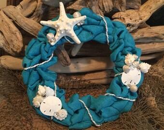 """Coastal Burlap Wreath 12"""""""