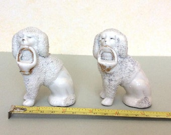 2 Small Antique Continental Bisque China Poodles---Made c1920