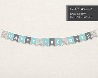 Argyle 100 Day Baby Banner - DIY, Printable PDF