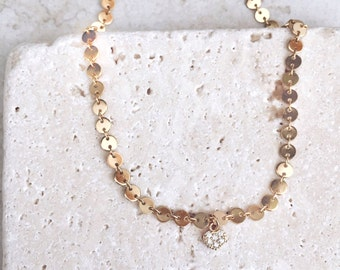 Choker necklace, gold heart, delicate necklace, gift for her, bridesmaids gift, birthday gift,