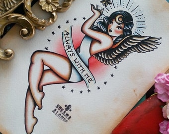 Original Artwork ALWAYS WITH ME Traditional Tattoo flash  300 grms Watercolour