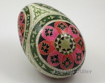 Goose Egg Pysanka, Green and Pink