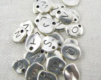 Silver Irregular-Shape Alphabet Charms, Full Set A-Z, 26 per package ALF001az