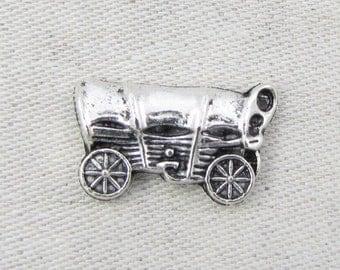 Conestoga Wagon, Covered Wagon, Vintage Wagon, Oregon Trail, Western Wagon, Wagon Train, Oklahoma Sooners, 1 or 10 charms, SYM091