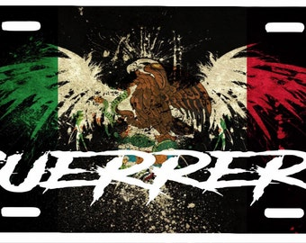 "Guerrero Aluminum License Plate Placa  6""' x 12"""