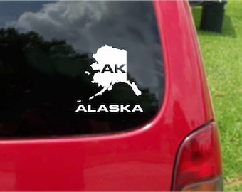 2 Pieces Alaska AK State USA Outline Map Stickers Decals 20 Colors To Choose From.  U.S.A Free Shipping