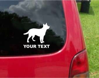 Set (2 Pieces) Australian Cattle Dog  Sticker Decals with custom text 20 Colors To Choose From.  U.S.A Free Shipping