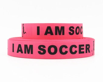 7/8 inch I am Soccer -  Black on Pink Soccer Balls - SPORTS Printed Grosgrain Ribbon for Hair Bow