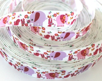 7/8 inch  Girly Elephants on White  -  Printed Grosgrain Ribbon for Hairbow