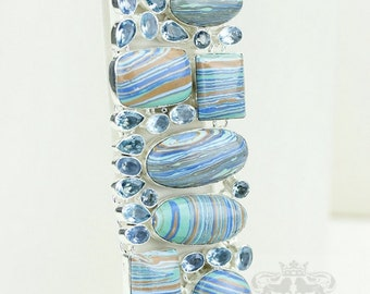 Uniform Color Tone! Rainbow Calsilica Blue Topaz 925 S0LID Sterling Silver Bracelet & FREE Worldwide Express Shipping B1801