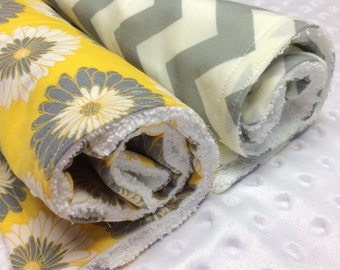 Set of 2 Dish Mat/ Dish Towel/Drying Mat/ in Yellow and Grey coordinating fabrics!Free Shipping!!!!!