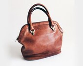vintage leather satchel / tan leather purse / distressed leather handbag / 90's vintage
