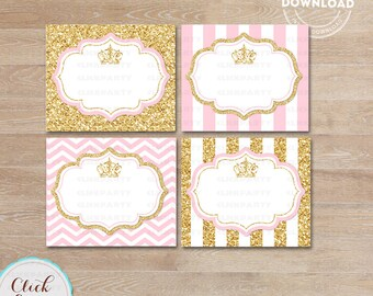Princess Pink and Gold Food Tent Labels, Gold Glitter Buffet Labels, Table tents, Baby shower Decorations, Candy Labels, Party Printable