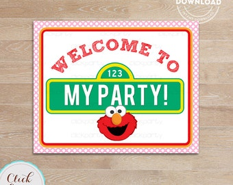 Elmo Girl Welcome Sign, Pink Elmo Birthday Sign, Birthday Party Sign, Door Sign Birthday party decorations INSTANT Download