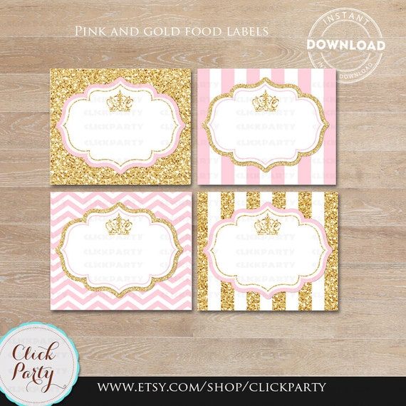 Princess Pink and Gold Food Tent Labels, Gold Glitter ...