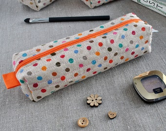Make-up Case in Multi-Coloured Polka Dots - Cosmetic Pouch, Make-Up Bag, Pencil Case