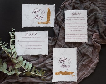 Custom Marble, wedding invitations, with matching envelope