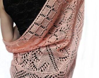 Knitted scarf - shawl,  knit shawl, wraps shawls, knitted shawl, crochet shawl,  light pink shawl