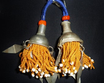 Small Turkmen Tassels with Metal Dangles, 1 Pair, vintage