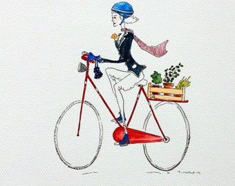 On the bike, illustration - original drawing