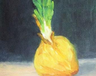 Little Onion II, 4 x 6, original oil painting, veggie still life, kitchen art