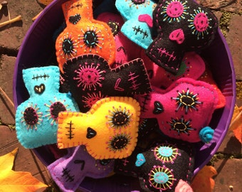 Day of the Dead Handstiched Felt Sugar Skull Ornaments
