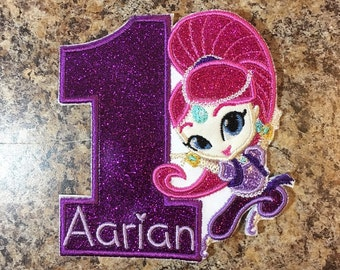 Shimmer and Shine Inspired Birthday Number Iron On Appliqué