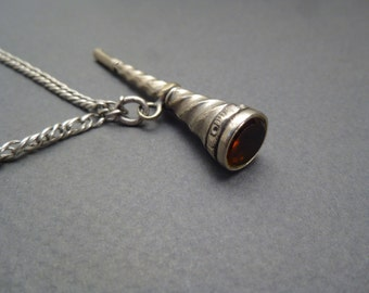 "55"" silver chain w/ silver watch key"