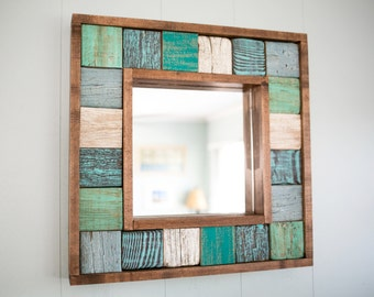 Hand Painted Driftwood Square Mirror, Rustic Decor, Beach House, Reclaimed Wood, Nautical Mirror