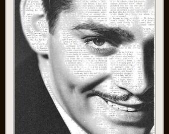 Clark Gable--Vintage Dictionary Art Print---Fits 8x10 Mat or Frame