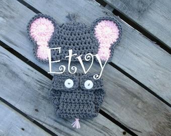 Newborn Girl Elephant Hat With Diaper Cover Set Crochet Elephant Outfit Handmade Knit Baby Elephant Costume Newborn Photo Prop