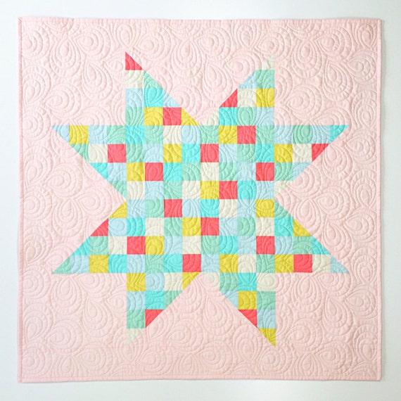 Pieced Heirloom Crib Quilt - Star in Pink Pastel - READY-to-SHIP