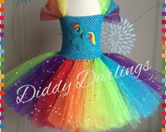 Sparkly Rainbow Dash Tutu Dress. Inspired Handmade All Sizes Fully Customised Halloween, Christmas, Party, Fancy Dress, Princess Costume