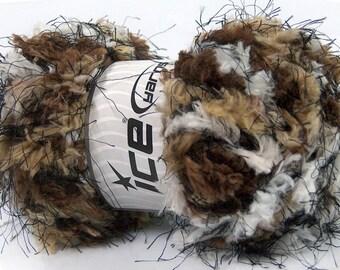 Colorful Shades of Browns Eyelash and Microfiber Ice Yarn, White, Brown, Tan and Brown Fun Fur, Long Fancy Yarn, Fiber Art 43582